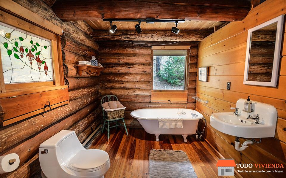 decoración de baño rustico con todos los materiales